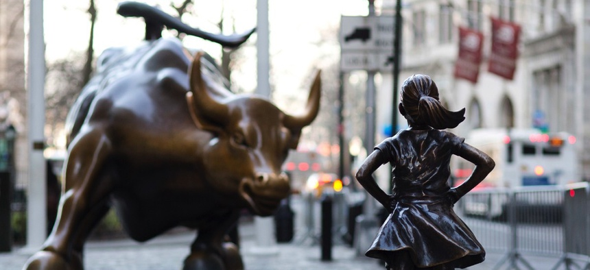 "Has the installation of ""Fearless Girl"" defiantly standing in the ""Charging Bull""'s path transformed the meaning of one of New York's best-known public artworks?"