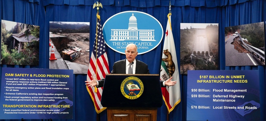 California Gov. Jerry Brown discusses his proposal in February to spend $437 million on flood control and emergency response in the wake of recent storms.