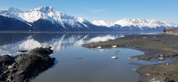 The Seward Highway follows the scenic Turnagain Arm.