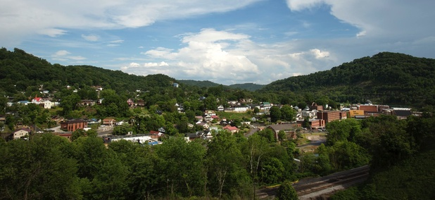 The city of Hazard in Perry County, Kentucky.