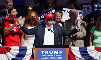 Candidate Donald Trump speaking in May, 2016 in Lynden, Wash.