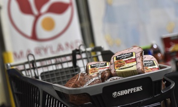 A portion of Smithfield's 25,000 pound protein donation is presented at Maryland Food Bank in Baltimore in December.