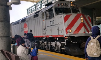 A Caltrain pulls into the Millbrae station near San Francisco International Airport.