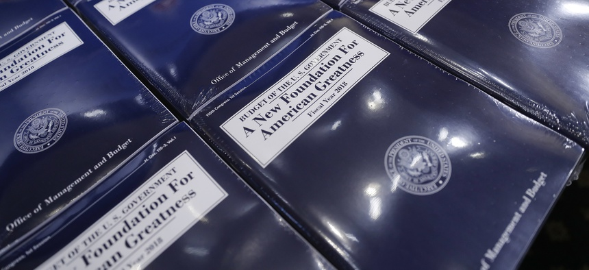 Copies of President Donald Trump's fiscal 2018 federal budget are laid out ready for distribution on Capitol Hill in Washington, on Tuesday, May 23, 2017.