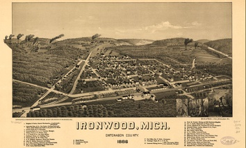 A depiction of Ironwood, Michigan, from 1886.