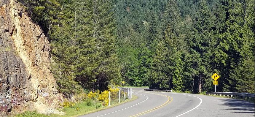 Washington State Route 7 winds its way south toward Morton, near Mount Rainier.