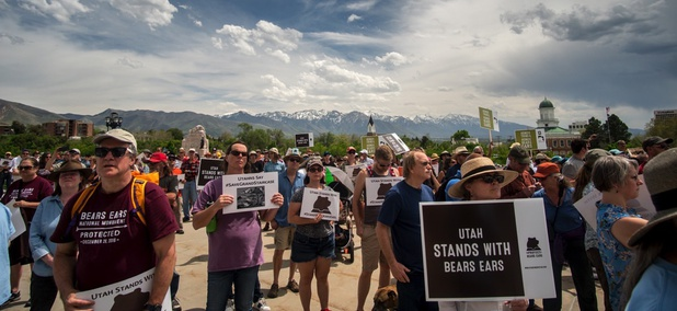 People gather in support of Bears Ears National Monument on the steps of the Utah State Capitol Building