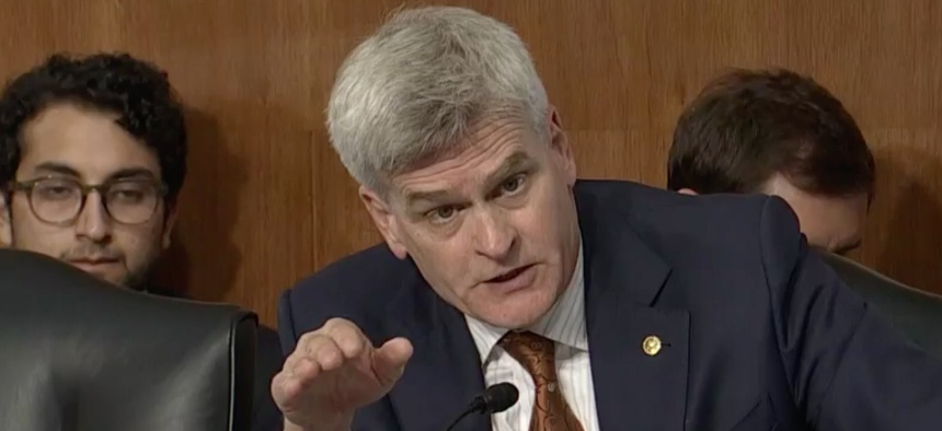 U.S. Sen. Bill Cassidy at a Senate Energy and Natural Resources Committee meeting on June 20.