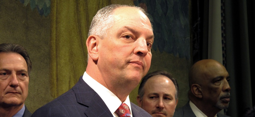 Gov. John Bel Edwards talks about efforts to overhaul Louisiana's criminal justice system, to lessen prison rates and boost treatment and training programs, on Thursday, March 16, 2017, in Baton Rouge, La.