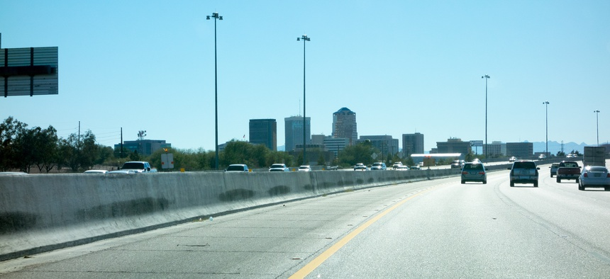Interstate 10 running through downtown Tucson, Arizona