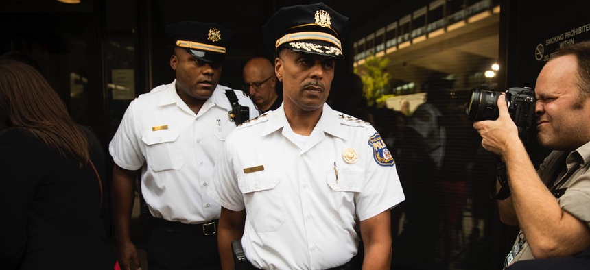 Philadelphia Police Commissioner Richard Ross departs after speaking with members of the media and listening to Attorney General Jeff Sessions' speech at the U.S. Attorney's Office on Friday.