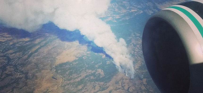 Flying above the remnants of the Long Valley Fire near the California-Nevada border on Friday.