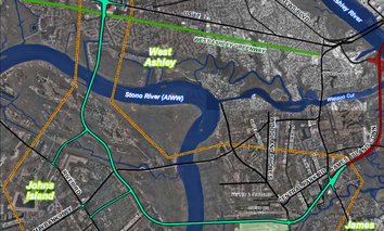 The green route shows the planned alignment to complete Interstate 526 in Charleston County, South Carolina