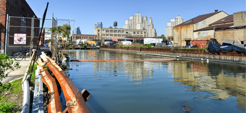 The Gowanus Canal in Brooklyn, N.Y., a Superfund site and one of the nation's most seriously contaminated water bodies.