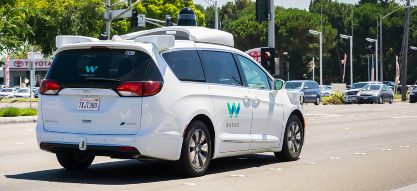 A Waymo car in Mountain View, California.