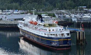 Matanuska of the Alaska Marine Highway ferry system prepares to sail from Skagway, Alaska.
