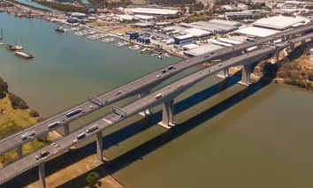 The Sir Leo Hielscher Bridges are part of Queensland Motorways in southeast Queensland, Australia.
