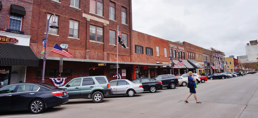 The historic downtown of Ames, Iowa.