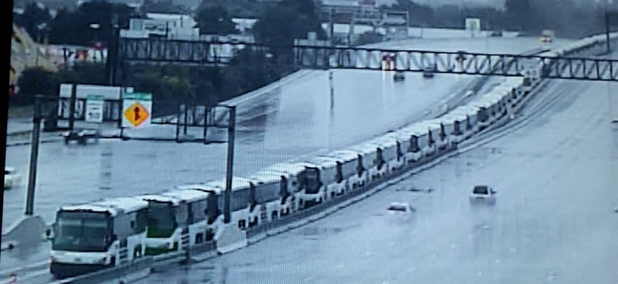 Harris County Metro lined up 120 buses on an elevated highway to save them from the floodwaters.