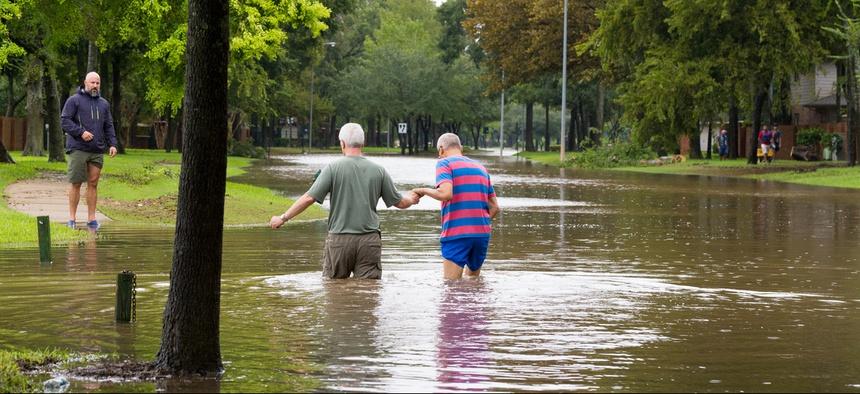 A flooded neighborhood in Missouri City, Texas.