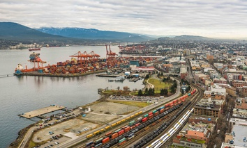 A shipping port in Vancouver, Canada in January 2017.