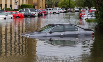 Cars submerged from Hurricane Harvey in Houston.
