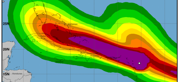 Tropical storm force wind speed probabilities for Hurricane Irma