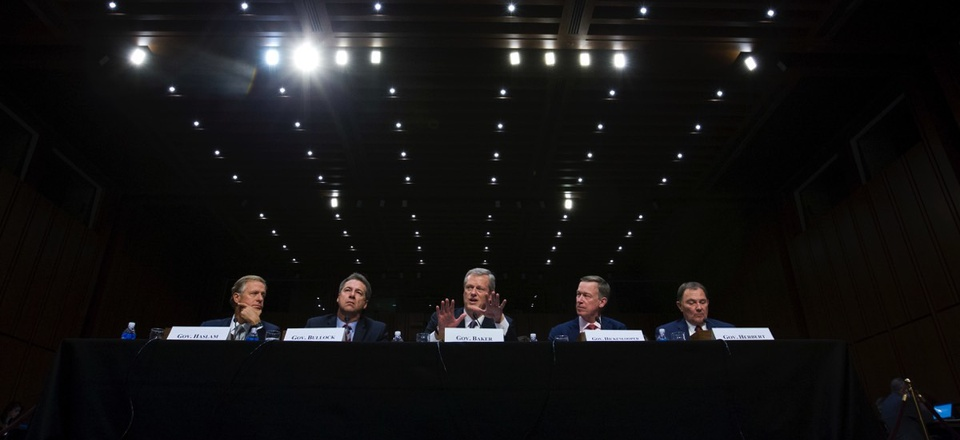 Governors from left; Bill Haslam of Tennessee, Steve Bullock of Montana, Charlie Baker of Massachusetts, John Hickenlooper of Colorado and Gary Herbert of Utah speak at a Senate hearing on Thursday, Sept. 7, 2017.