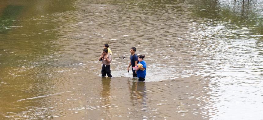 A flooded neighborhood in Houston following Hurricane Harvey