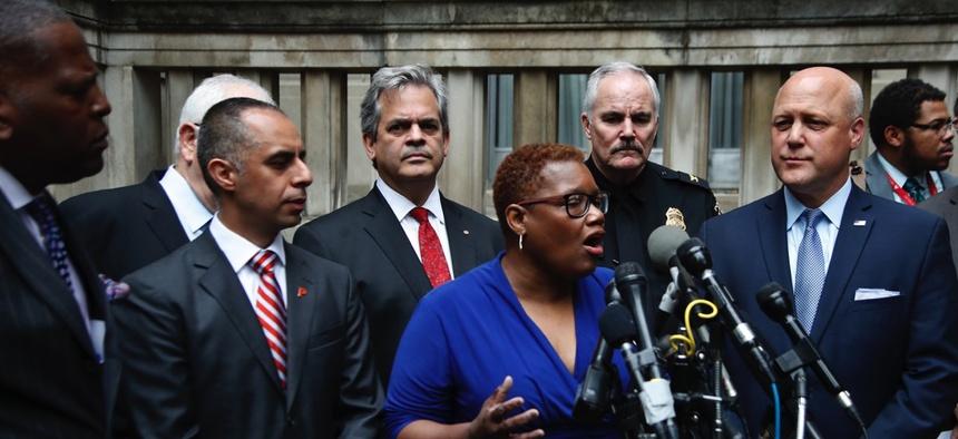 Gary, IndianaMayor Karen Freeman-Wilson, center, speaks before a delegation fromthe U.S. Conference of Mayors in April 2017.