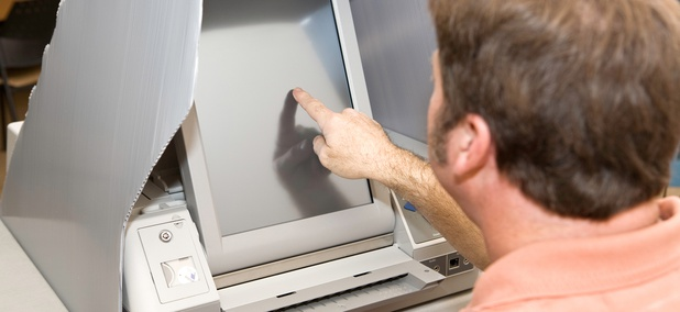 A touch-screen voting machine in Florida.