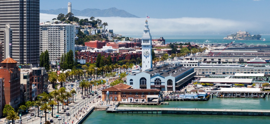 The Ferry Terminal is located along San Francisco's Embarcadero.