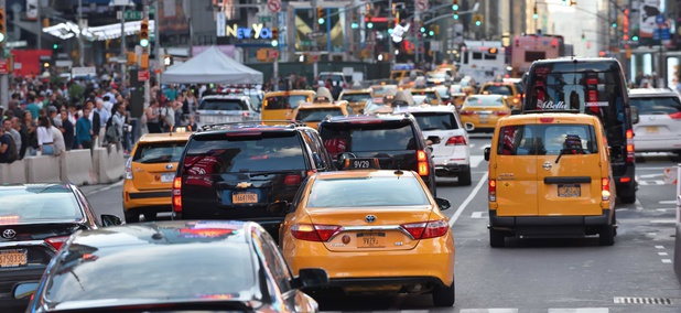 Traffic in midtown Manhattan during August, 2017.