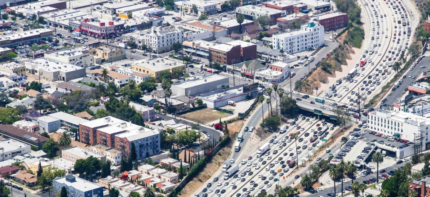 An aerial view of heavy traffic on Interstate 110 in the Los Angeles area in 2015.