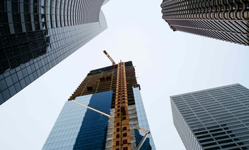 A high-rise building under construction in Seattle during 2016.