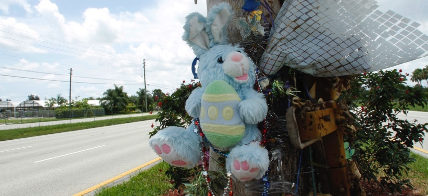 An old rain-soaked toy rabbit and plastic flowers are part of a roadside memorial for David Nicnick in June 2010 in Davie, Fla. Nicnick fell asleep at the wheel and crashed.