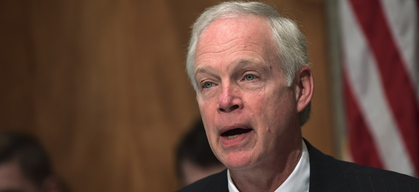 Senate Governmental Affairs Committee Chairman Sen. Ron Johnson, R-Wis., speaks on Capitol Hill in Washington, Tuesday, Oct. 31, 2017, during a hearing on the federal response to the 2017 hurricane season.