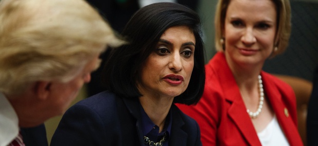Administrator of the Centers for Medicare and Medicaid Services Seema Verma speaks during a meeting on women in healthcare with President Donald Trump.