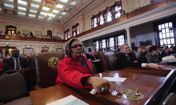Texas state Rep. Senfronia Thompson, D-Houston, prepares to vote for speaker of the house on Jan. 13, 2015, in Austin.