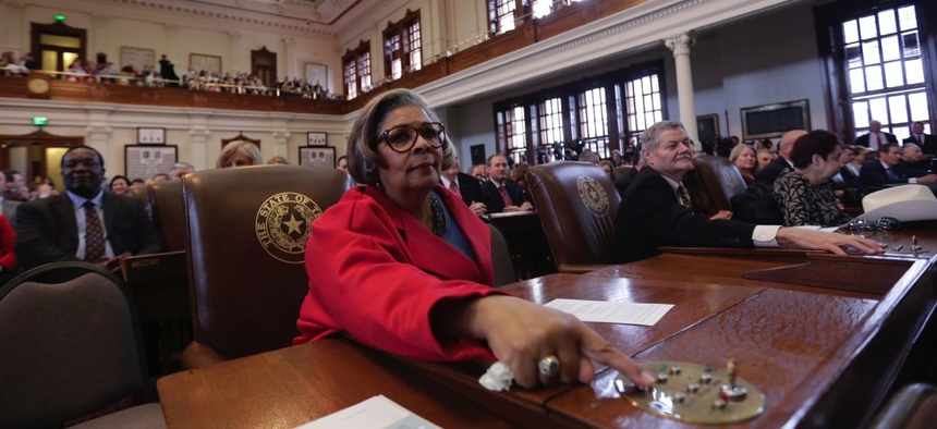 Texas state Rep. Senfronia Thompson, D-Houston, prepares to vote for speaker of the house on Jan. 13, 2015, in Austin.