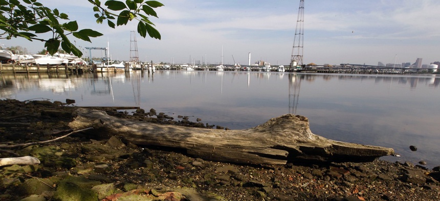 The shoreline of the Middle Branch of the Patapsco River in Baltimore, Md., in 2012.