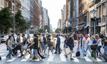 A busy crosswalk in New York City