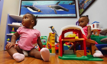 Maria Tapia, and TeresaTapia play in a playroom at Children's Hospital of Richmond at Virginia Commonwealth University in Richmond, Va.