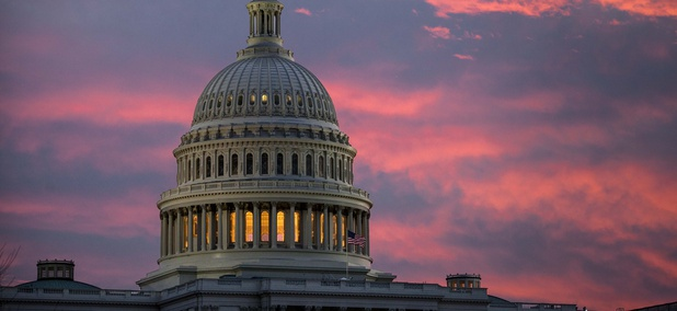 The Capitol is seen at dawn as Senate Republicans work to pass their sweeping tax bill this week, in Washington, Thursday, Nov. 30, 2017.