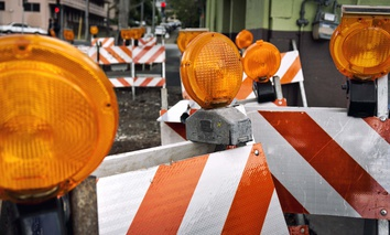 Construction barricades.