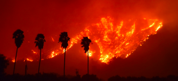 A quickly moving fire started Monday evening near Santa Paula, California