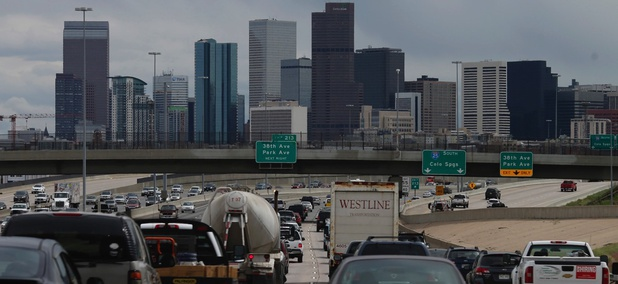 Motorists head southbound on Interstate 25 to downtown Denver.
