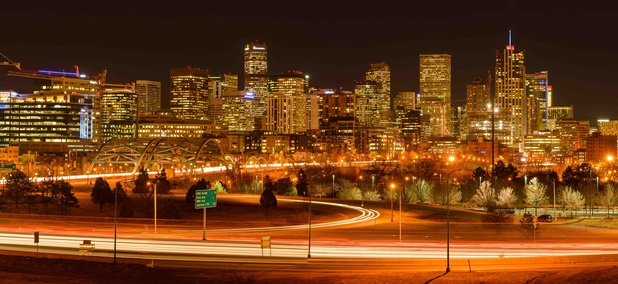 Denver, Colorado during evening rush hour in December 2015.