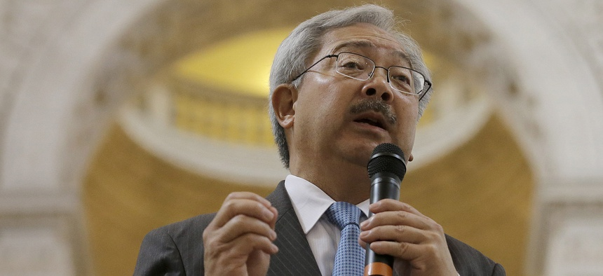 San Francisco Mayor Ed Lee speaks during a meeting at City Hall in San Francisco.