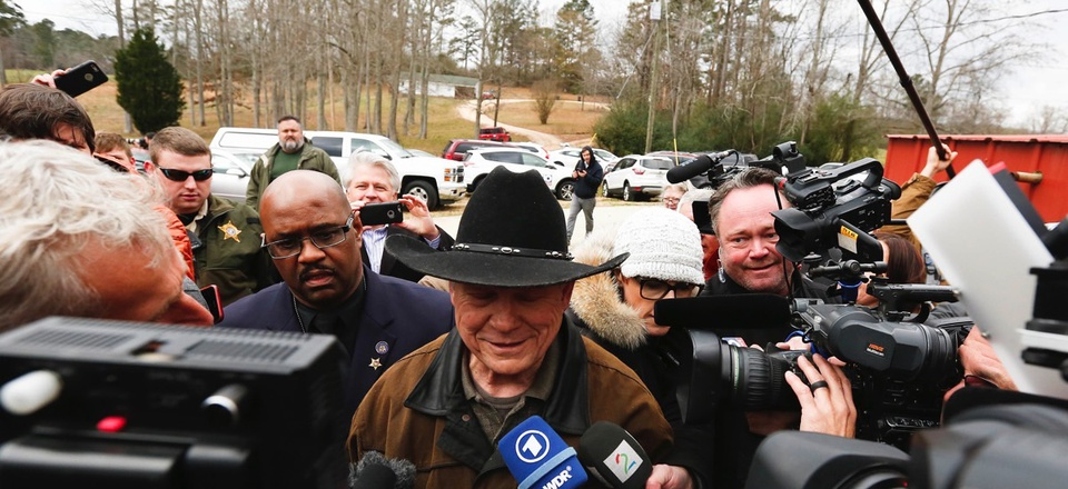 Republican U.S. Senate candidate Roy Moore talks to the media on election day as he votes in Gallant, Alabama. The state is the latest to hold a special election without an adequate audit structure in place, according to security experts.